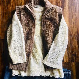 CAbi Faux Fur Sweater Vest -XS